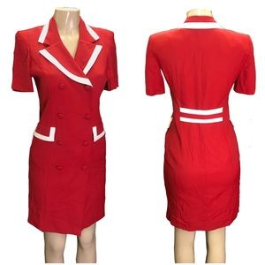 Vintage Petite Sophisticate Red Tailored Dress